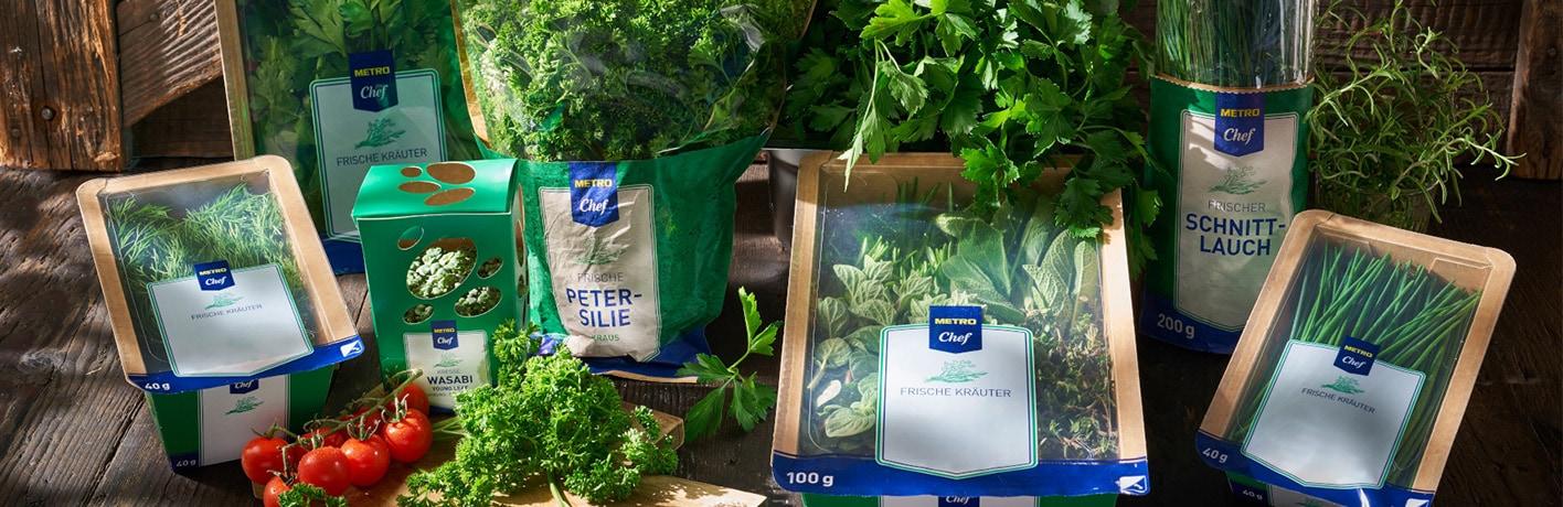Schnittkräuter-Verpackungen der Eigenmarke METRO Chef