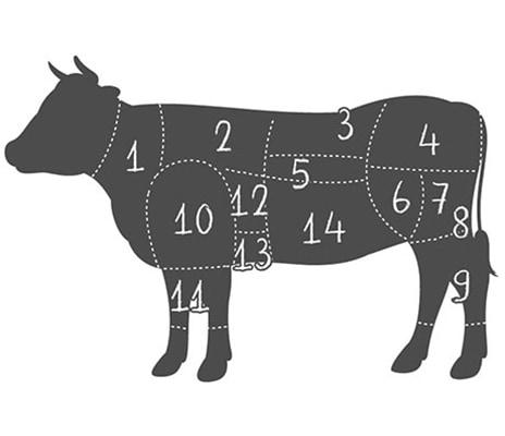 Zuschnitt eines Rinds