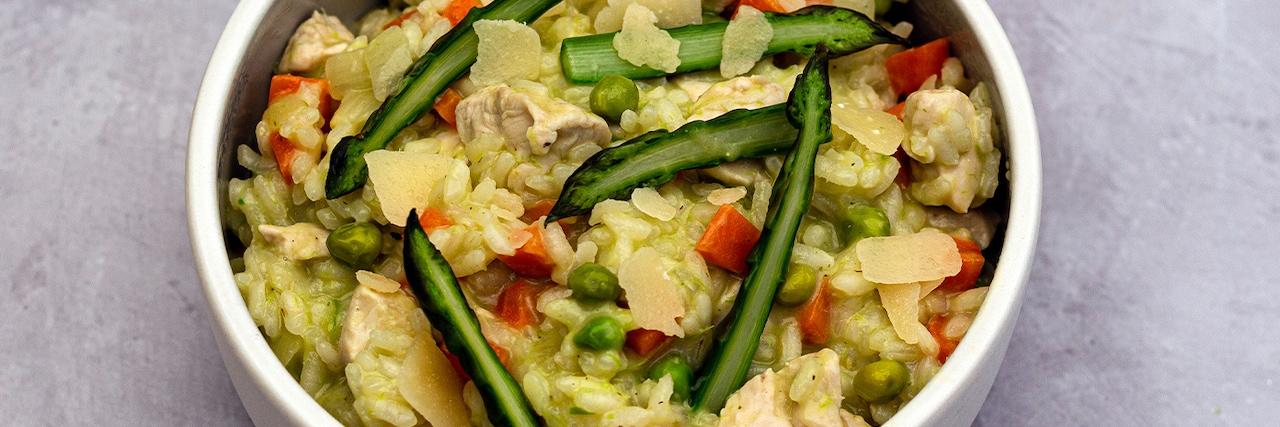 Recettes de chefs | Risotto au poulet et légumes printaniers