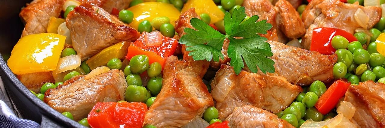 Recettes de chefs   Sauté de porc poivrons mixtes et petits pois