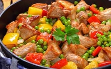 Recettes de chefs | Sauté de porc poivrons mixtes et petits pois