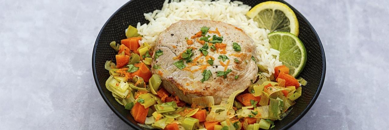 Recettes de chefs | Médaillon de veau aux légumes et agrumes